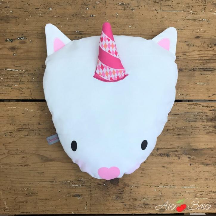 alice balice | coussin licorne | magie | déco enfant petite fille | unicorn | blanche et rose