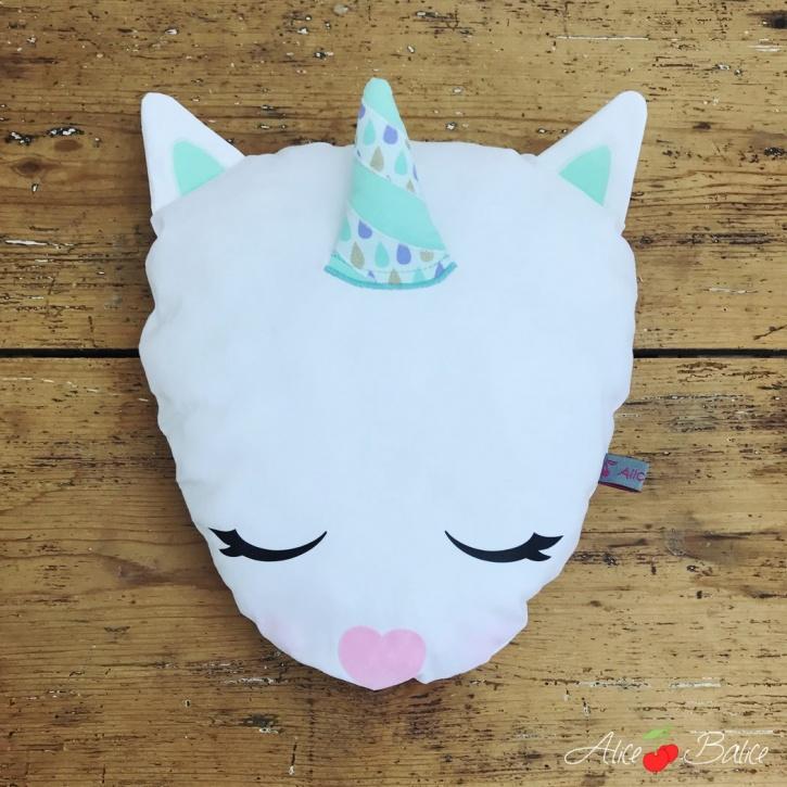 alice balice | coussin licorne | magie | déco enfant petite fille | unicorn | blanche et verte