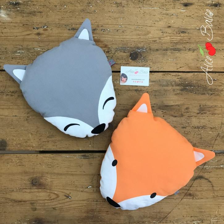 alice balice | coussin renard | déco enfant | petit garçon petite fille | fox | blanc gris orange
