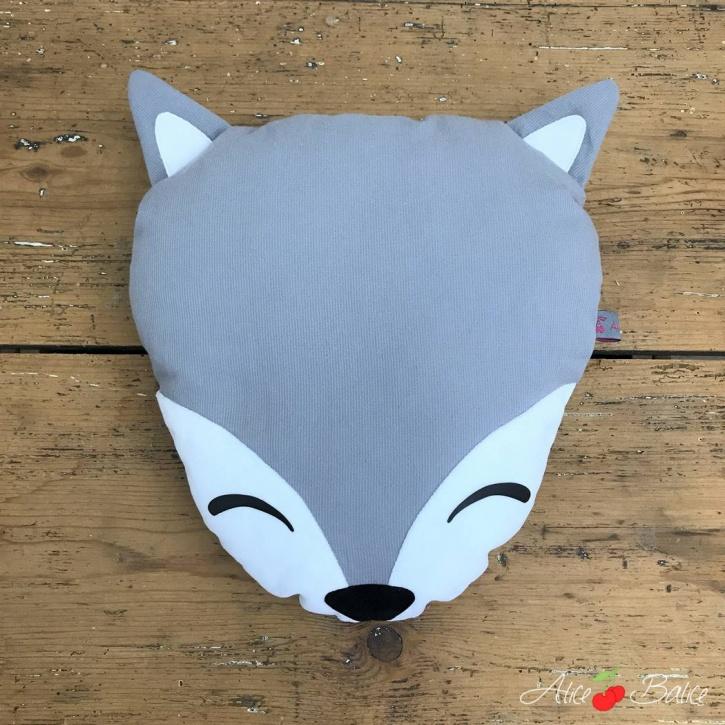 alice balice | coussin renard | déco enfant | petit garçon petite fille | fox | blanc et gris | taquin