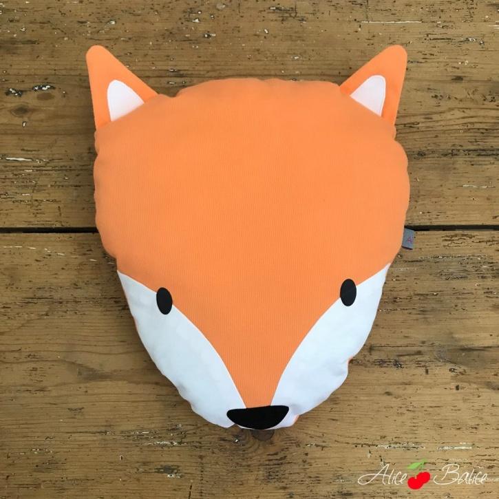 alice balice | coussin renard | déco enfant | petit garçon petite fille | fox | blanc et orange | vif
