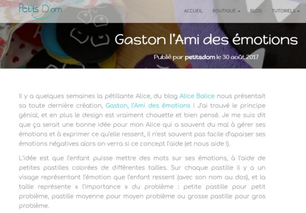 alice balice | revue de presse | Gaston l'Ami des émotions